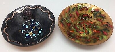2 VINTAGE ENAMEL ON COPPER Small Dish/bowls Signed HANDMADE BY BERNE