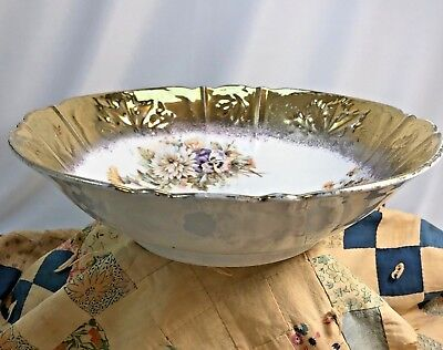 "9.5"" Round Vegetable Bowl - 2"" Bright Gold Hand Painted Border Floral Transfers"