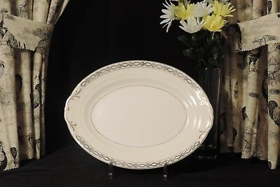 """CROWN POTTERIES CO. Made in U.S.A. Pattern 245 11"""" Oval Platter Blk Garland Gold"""