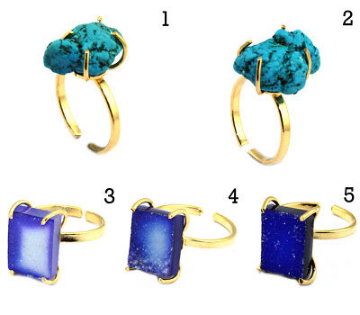 Natural Agate Druzy Turquoise Gold Plated Adjustable Prong Setting Ring Jewelry