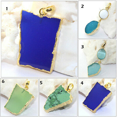 Stylish Natural Druzy Chalcedony Agate Turquoise 24k Gold Pated Pendant Jewelry