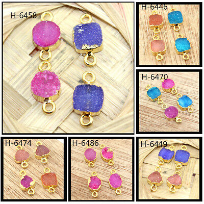 Lot Of 4 Pcs Natural Agate Druzy Gold Plated Connector Jewelry At FREE SHIPPING