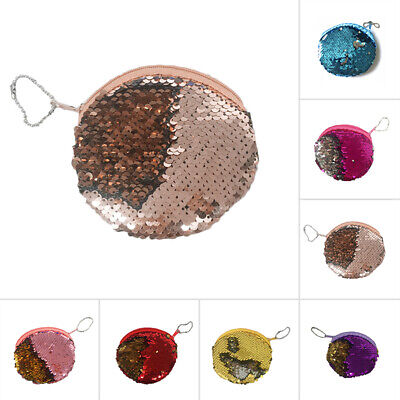 Key Chain Keyring Sequins Pendant Round Mini Coins Wallet Purse Keychain Gifts