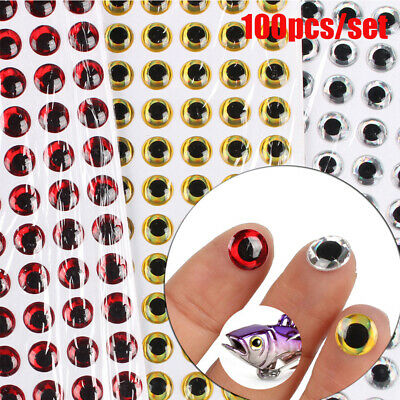 100Pcs Fish Eye 2-8.5mm 3D Holographic Lure Fish Eyes Fly Tying Jigs Crafts Doll