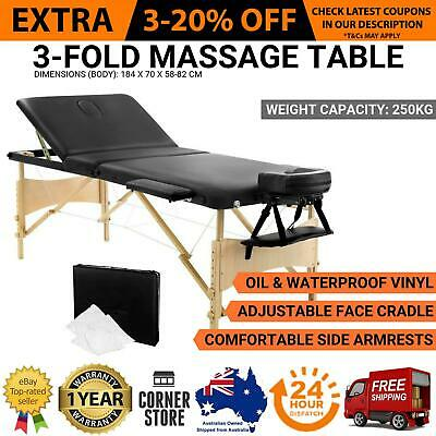 NEW 70cm Heavy Duty Portable Wooden Frame 3 Fold Massage Table Chair Bed - Black