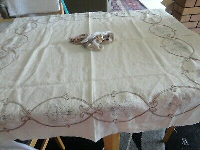 Vintage Semco Unworked Embroidery LINEN TABLECLOTH w/ embroidery cotton