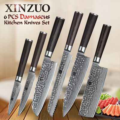 6 PCS JAPANESE damascus steel kitchen knife set chef cooking cleaver knife  set