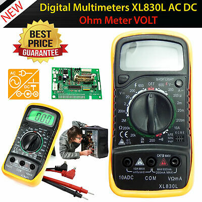 Digital Multimeter Volt Amp Meter Electrical Tester +Probes Battery Kit Case UK