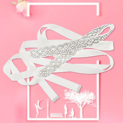 Bridal Sash Wedding Ladies Vintage Rhinstone Diamante Dress Satin Belt Gift