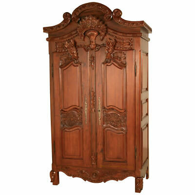 Antique Repro Mahogany French Style Free Standing 2 Door Armoire H200 W110 D60cm