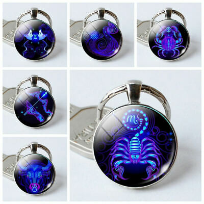 NEW Zodiac Sign Keychain 12 Constellation Pendant Double Face Keyring Key Holder