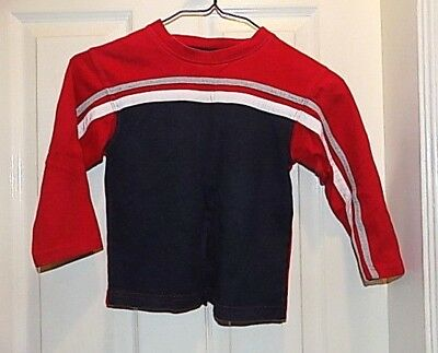 OKIE DOKIE Boys long sleeve athletic Top Size 4 T Blue Red White cotton