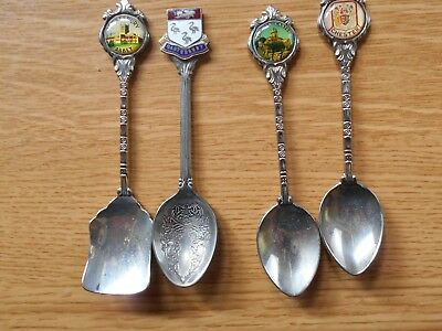 Four Souvenir Tea Spoons - Silver Plated with Enamelled Finials