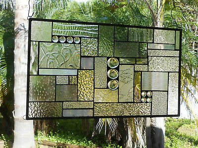 Stained Glass Panel, Clear Textured Stained Glass Transom Window, Patchwork
