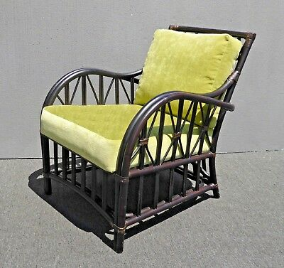 Admirable Vintage Rattan Bamboo Accent Chair W Lime Green Cushions By Lamtechconsult Wood Chair Design Ideas Lamtechconsultcom