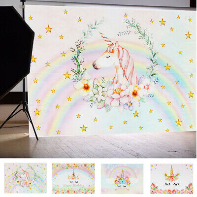5x7FT Colorful Unicorn Photography Photo Background Backdrop Birthday Party AU