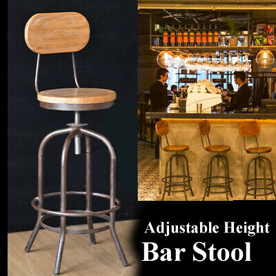 2PCS Industrial Wood Counter Kitchen Bar Stool Coffee Dining Outdoor Home N1K7