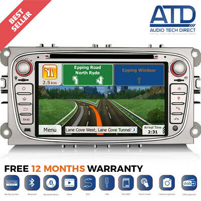 "7"" Car GPS Sat-Nav Head Unit Bluetooth DVD Player USB Stereo For Ford Mondeo Mk4"
