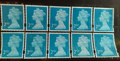 300 2nd class unfranked stamps, used, off paper, on sheets, with gum