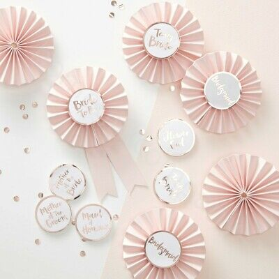 6x Pink Rose Gold Team Bride Badges Rosettes Hen Party Badge Accessories Favours