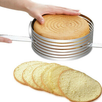 25-30cm Adjustable Round Stainless Steel Cake Ring Mold Layer Slicer Cutter YH