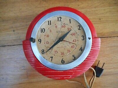 Vintage 1950s Art Deco Red Telechron Electric Wall Clock 2H17 For Repair