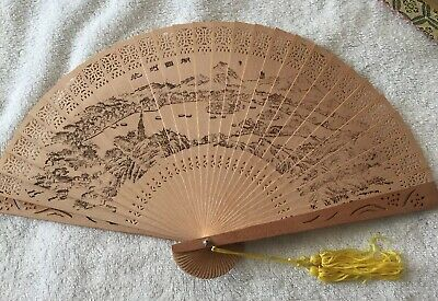 Chinese Vintage Wooden Folding Hand Fan  Village Pattern With Glass Top Box