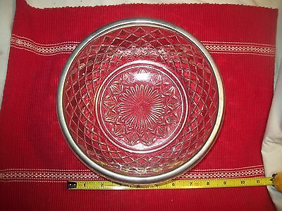 "Heavy Pressed Glass Bowl with Silver plated metal rim ""Made in England""."