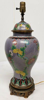 Antique Chinese Vintage Cloisonne Purple Large Floral Baluster Vase Lamp As Is