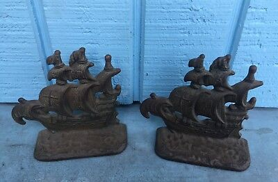 Antique Cast Iron Bookends Galleon Pirate SHIP 1920's Art Deco