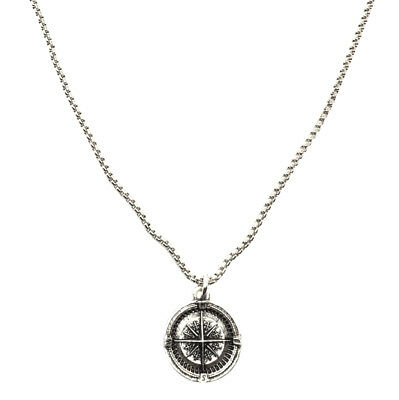 "Silver or Gold Compass Pendant 20-24"" Necklace Men Women Medieval Antique Look"