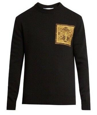 NWT Authentic GIVENCHY Black COBRA Chest Applique 100% WOOL Knit Sweater S