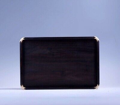 black hard wood inlay copper Chinese Mortise and tenon structure Tea tray plate