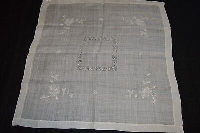 """Lovely Vintage Tablecloth 31"""" X 31"""" w Same Color Embroidery & Cut Work Detail"""