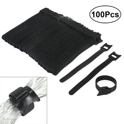 100Pcs 6 inch Hook Loop Cable Cord Ties Tidy Straps Velcro Cable Ties