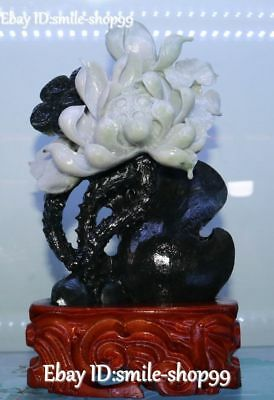 China Top Quality Natural Dushan Jade Pure Hand Carved Lotus Flower Sculpture