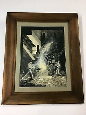 Charles Perry Weimer Large Pen & Ink Pittsburgh Steel Mill