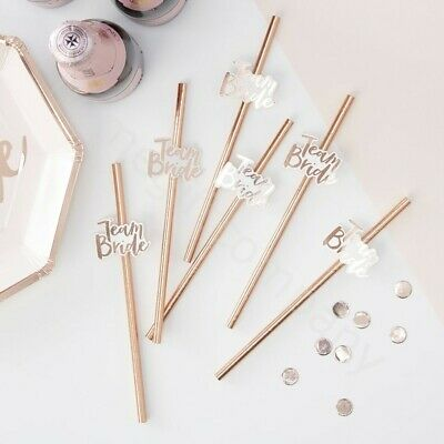 16x Rose Gold Team Bride Paper Straws Drinking Biodegradable Hen Party Tableware