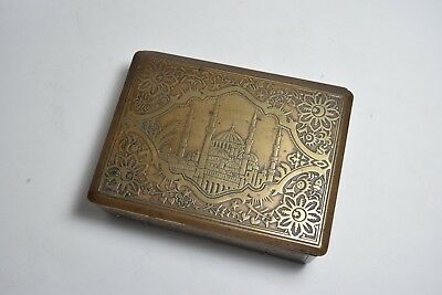 Vintage Bronze and Wooden Turkish Box Greek AGIA SOPHIA Church Mosque