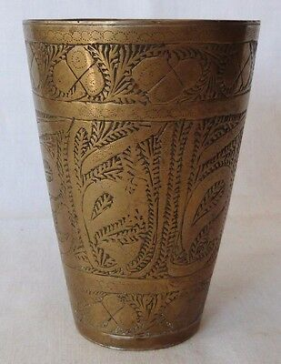 Vintage Ottoman Bronze Hand Made Cup Glass Etched Islamic Arab Metal Collectible
