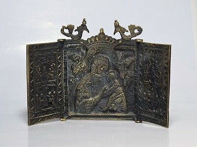 Vintage Russian Brass Metal Triptych Christian Icon Made of Brass Greek Russian