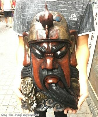 China Old Wood Carved Hand-Painted Dragon Guan Gong GuanYu Head Face Mask Statue