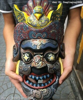 China  Buddhism Wood Carved Hand-Painted Talismanic Exorcism Face Ghosty Mask