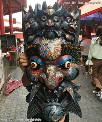 Tibet Buddhism Wood Carved Hand-Painted Talismanic Exorcism Evil Ghosty Mask