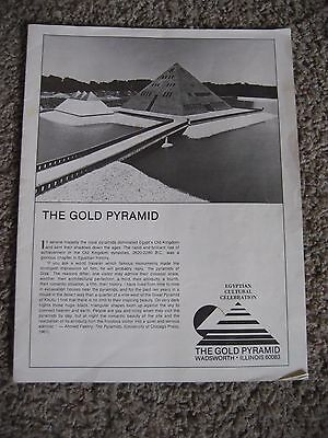 "THE GOLD PYRAMID ~ ""PYRAMID HOUSE"" ~ Brochure/Pamphlet, Wadsworth, Illinois"
