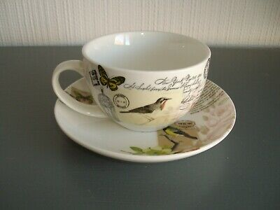 Creative Tops ~ Lovely Shabby Chic Style Cup And Saucer ~ Flowers And Birds