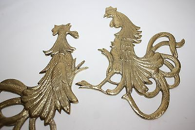 Vintage Gold Metal Wall Decor Fighting Rooster Plaques Made in Japan