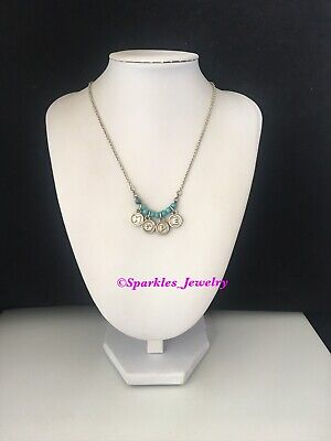 Premier Designs SWEETNESS Antiqued Silver Plated Turquoise Necklace Love & Hope