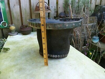 EARLY19th Century ENGLISH  ANTIQUE, ORIGINAL LEATHER FIRE BUCKET rivets copper