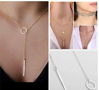 Choker Gold Silver Infinity Coin Long Drop Choker Lariat Necklace - UK SELLER